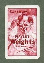 Collectable cigarette advertising playing card Players Weights cigarettes